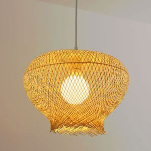 Downward Bird Nest Pendant Light Rural Style Bamboo Pendant Light Bedroom Dining Room Lighting