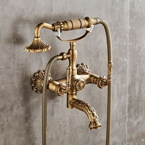 Classic Shower Faucet Wall Mounted Bathtub Faucet Antique Brushed Finish Tub Tap With Hand Sprayer