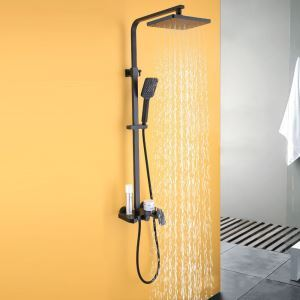 Black Bathroom Shower Faucet Wall Mount Rain Shower System With Shower Head + Hand Shower