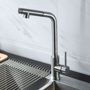 Pull Out Kitchen Faucet Nickel Brushed Kitchen Tap Stainless Steel Faucet