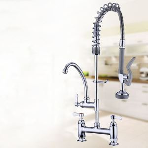 Deck Mounted Kitchen Faucet Chrome Polished Kitchen Tap 3 Handles Faucet