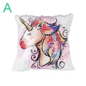 Unicorn Pattern Theme Pillow Cover Double Plates Sequin Pillow Case 6 Options