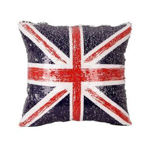 Modern Sequin Pillow Cover The United Kingdom Flag Pillow Case Creative Cushion