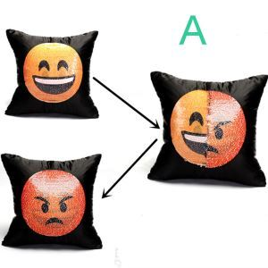 Funny Emoji Face Pillow Cover Creative Sequin Pillow Case Soft Cozy Cushion