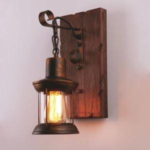 American Vintage Wall Light Industrial LOFT Wall Sconce Solid Wood Glass Lamp Hallway Bar Coffee Light LBY18038