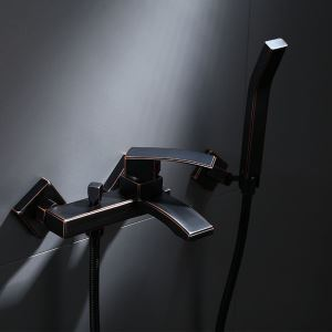 Elegant Black Tub Faucet Modern Wall Mount Bathtub Tap with Flexible Hand Shower