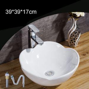 European Single Sink Petal Shape Vessel Sink White Ceramic Basin Without Faucet