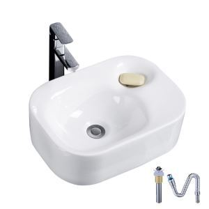 European Single Sink White Ceramic Vessel Sink With Soap Sink Without Faucet