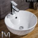 European Bowl Shape Single Sink White Ceramic Vessel Sink Without Faucet With Soap Sink