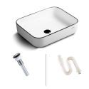 Contemporary Ceramic Basin White Rectangle Vessel Sink for Bathroom(without Faucet)