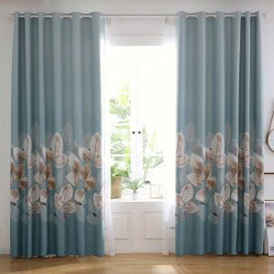 Fresh Leaf Printed Curtain Modern Thick Curtain Living Room Bedroom Office Fabric(One Panel)
