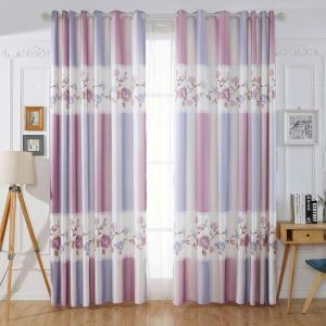 Girl Series Printed Curtain Modern Flower Stripes Curtain Bedroom Living Room Fabric(One Panel)