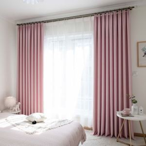 Solid Pink Curtain Modern Cotton Linen Curtain Living Room Bedroom Nursery Fabric(One Panel)
