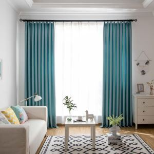 Fresh Cotton Linen Curtain Solid Cyan Curtain Living Room Bedroom Fabric(One Panel)
