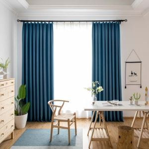 Luxury Cotton Linen Curtain Solid Blue Curtain Living Room Bedroom Fabric(One Panel)