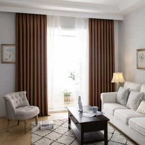 Modern Cotton Linen Curtain Solid Coffee Semi Blackout Curtain Living Room Bedroom Fabric(One Panel)