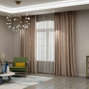 Solid Apricot Curtain Modern Silk Imitation Curtain Living Room Bedroom Study Blackout Fabric(One Panel)