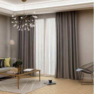 Modern Grey Blackout Curtain Solid Color Silk Imitation Curtain Living Room Bedroom Fabric(One Panel)