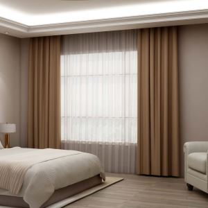 Solid Coffee Curtain Contemporary Silk Imitation Curtain Living Room Bedroom Blackout Fabric(One Panel)