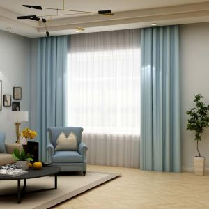 Solid Light Blue Curtain Modern Silk Imitation Curtain Living Room Bedroom Blackout Fabric(One Panel)