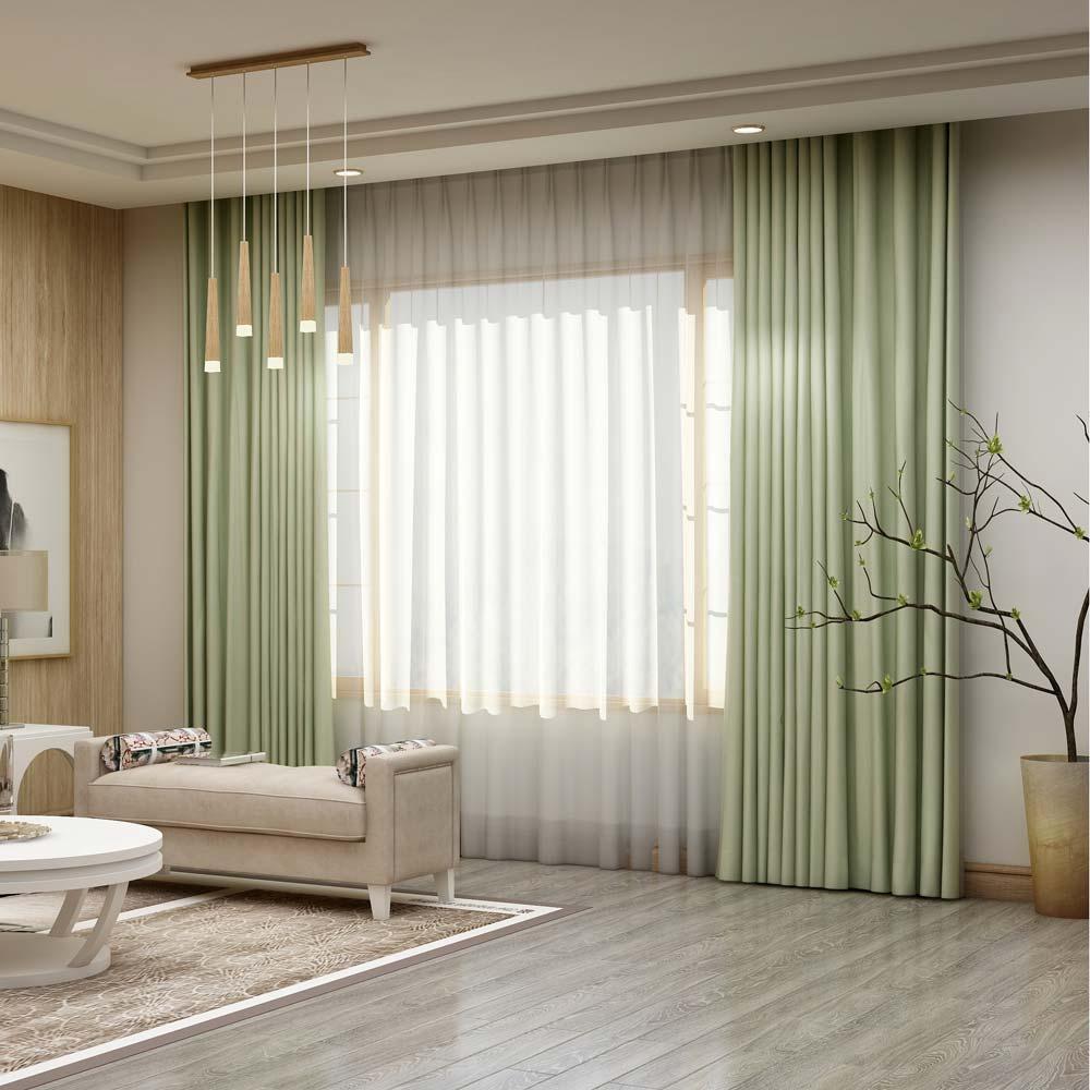 Solid Light Green Curtain Modern Silk Imitation Curtain Living Room Bedroom Blackout Fabric One Panel
