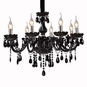 Black Crystal Chandelier with 8 Lights Black Chandelier
