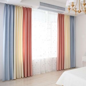 Special Splicing Curtain Modern Cotton Linen Curtain Living Room Fabric(One Panel)