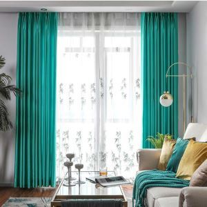 Solid Cyan Curtain Modern Simple Curtain Living Room Bedroom Office Fabric(One Panel)