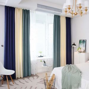 Three Colors Splicing Curtain Modern Cotton Linen Curtain Living Room Fabric(One Panel)