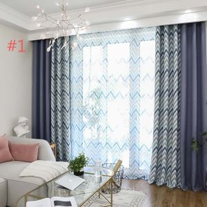 Mediterranean Style Wave Curtain Modern Simple Cotton Curtain Living Room Bedroom Office Fabric(One Panel)