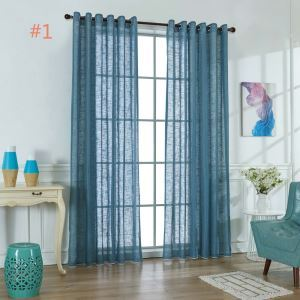 Japanese Solid Color Sheer Curtain Soft Cotton Linen Sheer Curtain Living Room Bedroom Nursery Blue Fabric(One Panel)