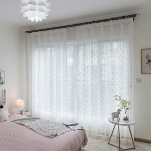 Diamond Embroidery Sheer Curtain Nordic White Sheer Curtain Living Room Bedroom Study Fabric(One Panel)