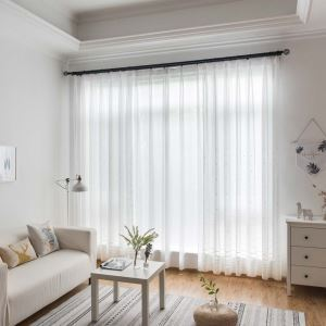 Dot Embroidery Sheer Curtain Nordic White Sheer Curtain Living Room Bedroom Study Fabric(One Panel)