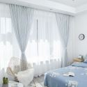 Vertical Stripes Sheer Curtain Japanese Linen Sheer Curtain Living Room Bedroom Nursery Blue Fabric(One Panel)