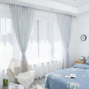 Vertical Stripes Sheer Curtain Japanese Linen Sheer Curtain Living Room Bedroom Nursery Blue Fabric(One Panel)