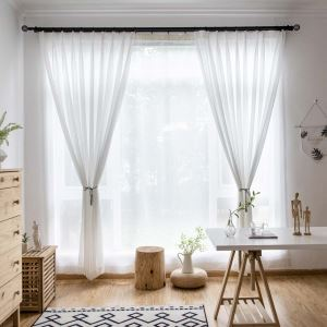 White Chiffon Sheer Curtain Modern Breathable Sheer Curtain Living Room Bedroom Nursery Fabric(One Panel)