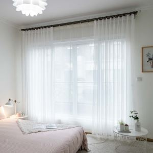 White Breathable Sheer Curtain Modern Simple Sheer Curtain Living Room Bedroom Study Fabric(One Panel)
