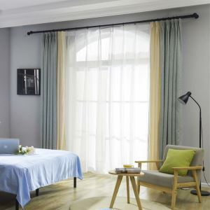 Modern Splicing Jacquard Curtain Simple Chenille Curtain Living Room Bedroom Fabric(One Panel)