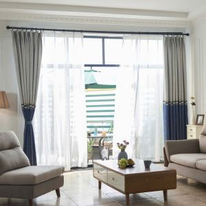 Blue + Grey Jacquard Curtain Double Color Splicing Chenille Curtain Living Room Bedroom Fabric(One Panel)