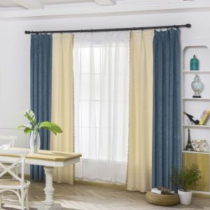 Blue + Beige Jacquard Curtain Double Color Splicing Chenille Curtain Living Room Bedroom Fabric(One Panel)