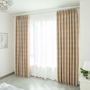 Special Wave Jacquard Curtain American Simple Chenille Curtain Living Room Bedroom Study Fabric(One Panel)
