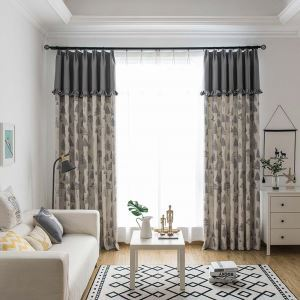 Nordic Pine Printed Curtain Special Splicing Curtain Living Room Bedroom Fabric(One Panel)