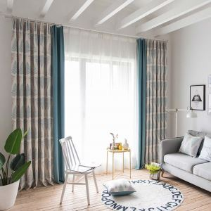 Fresh Metasequoia Printed Curtain Modern Simple Splicing Curtain Living Room Bedroom Study Fabric(One Panel)