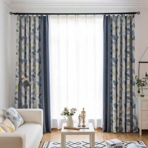 Fresh Leaf Printed Curtain Modern Nordic Style Curtain Living Room Bedroom Fabric(One Panel)