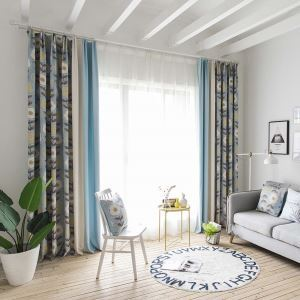Nordic Branch Printed Curtain Modern Splicing Curtain Living Room Bedroom Study Fabric(One Panel)