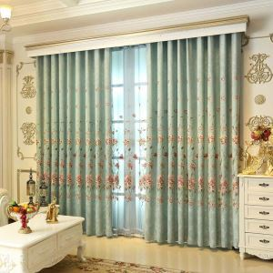American Green Embroidery Curtain Classical Thickened Chenille Curtain Living Room Bedroom Study Fabric(One Panel)