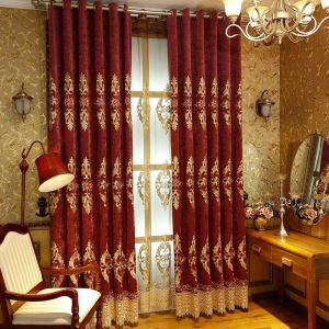 European Classical Curtain Thickened Chenille Embroidery Curtain Living Room Bedroom Fabric(One Panel)
