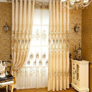 European Flower Chenille Curtain Classical Embroidery Curtain Living Room Bedroom Office Fabric(One Panel)