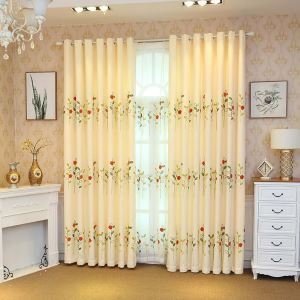 Fresh Semi Blackout Curtain Ladybug Embroidery Curtain Living Room Curtain (One Panel)