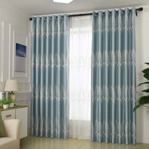 Simple Max Blackout Curtain Barley Pattern Jacquard Curtain Bedroom Curtain (One Panel)